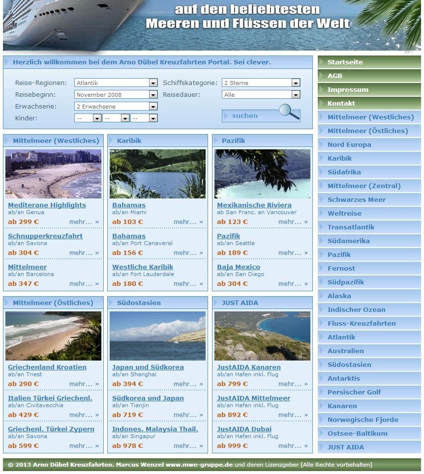 PHP Kreuzfahrten Reise Service Script