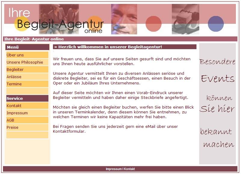 Begleitagentur Webseite