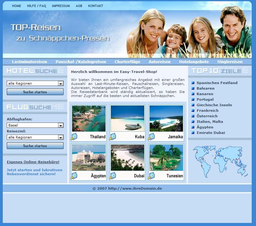 Online Reise Service Webseite