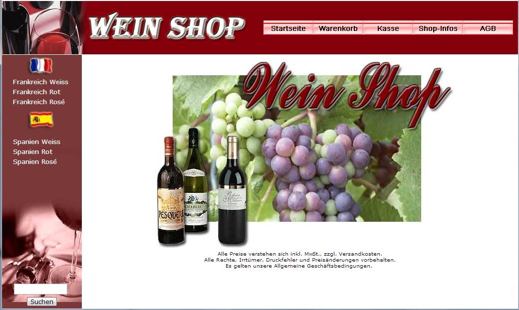 Webprojekt Weinshop mit Großhändleradresse Shop | Webseite | Geld Verdienen