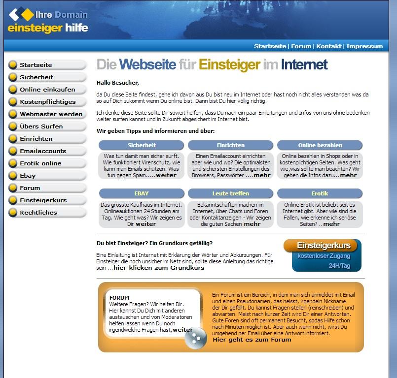 Die Webseite für Einsteiger im Internet I Homepage Script
