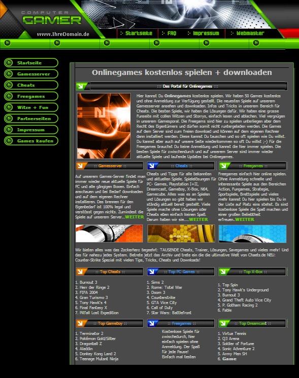 Flash Spiele, Witze + Fun seite - Script mit 44 Online Games I Homepage Script