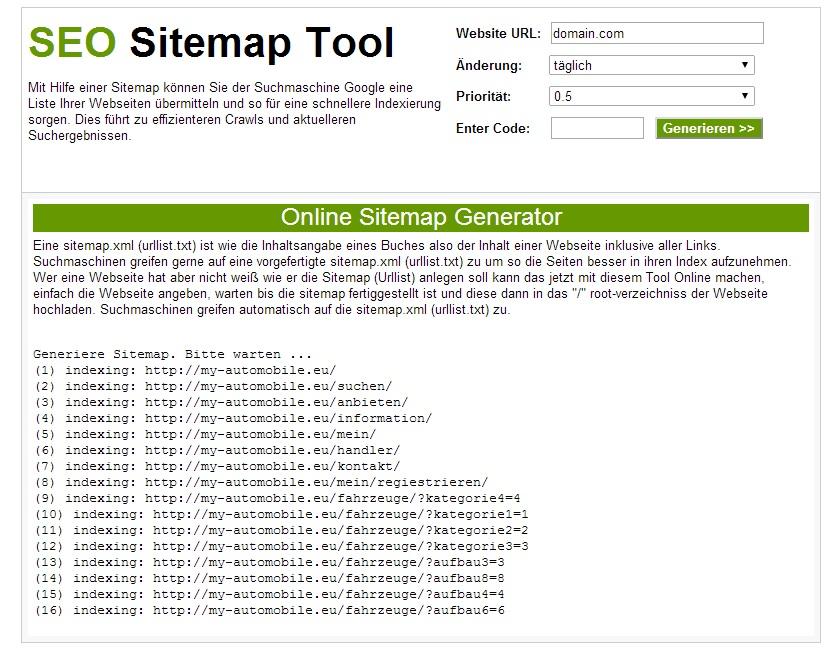SEO Online Sitemap Generator Tool Besucher Magnet