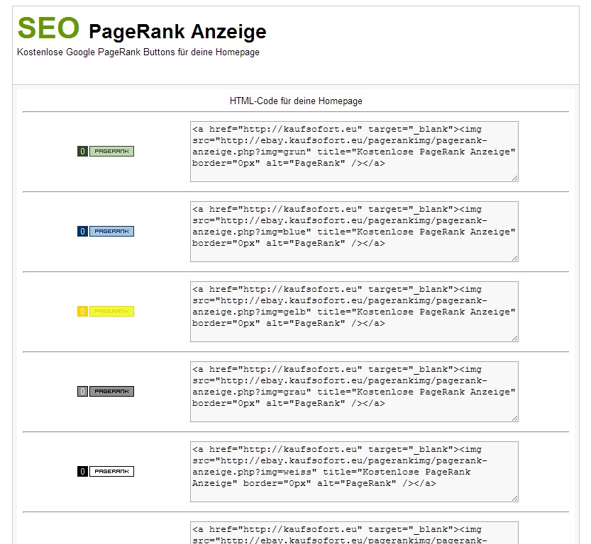 SEO PageRank Anzeige Tool Besucher Magnet Backlink