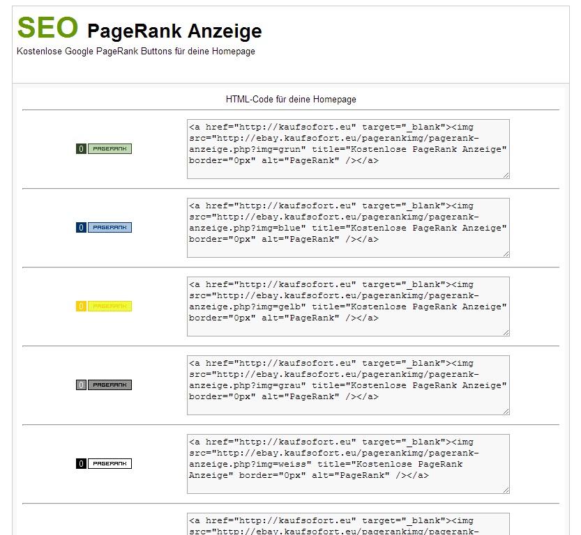 SEO PageRank Anzeige Tool Besucher Magnet Backlink