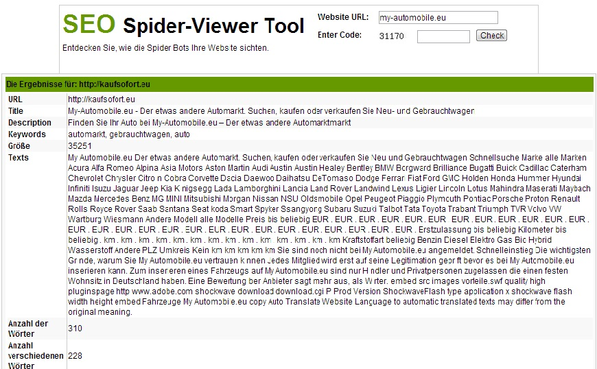 SEO Spider-Viewer Tool Besucher Magnet