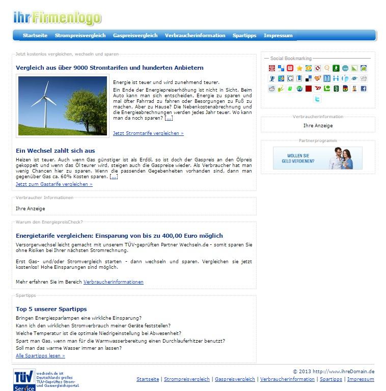 PHP Strom-Gas Vergleichsportal Script