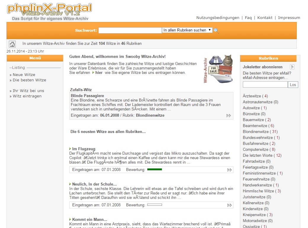 PHP Witze-Archiv Script | Witze Portal Software |