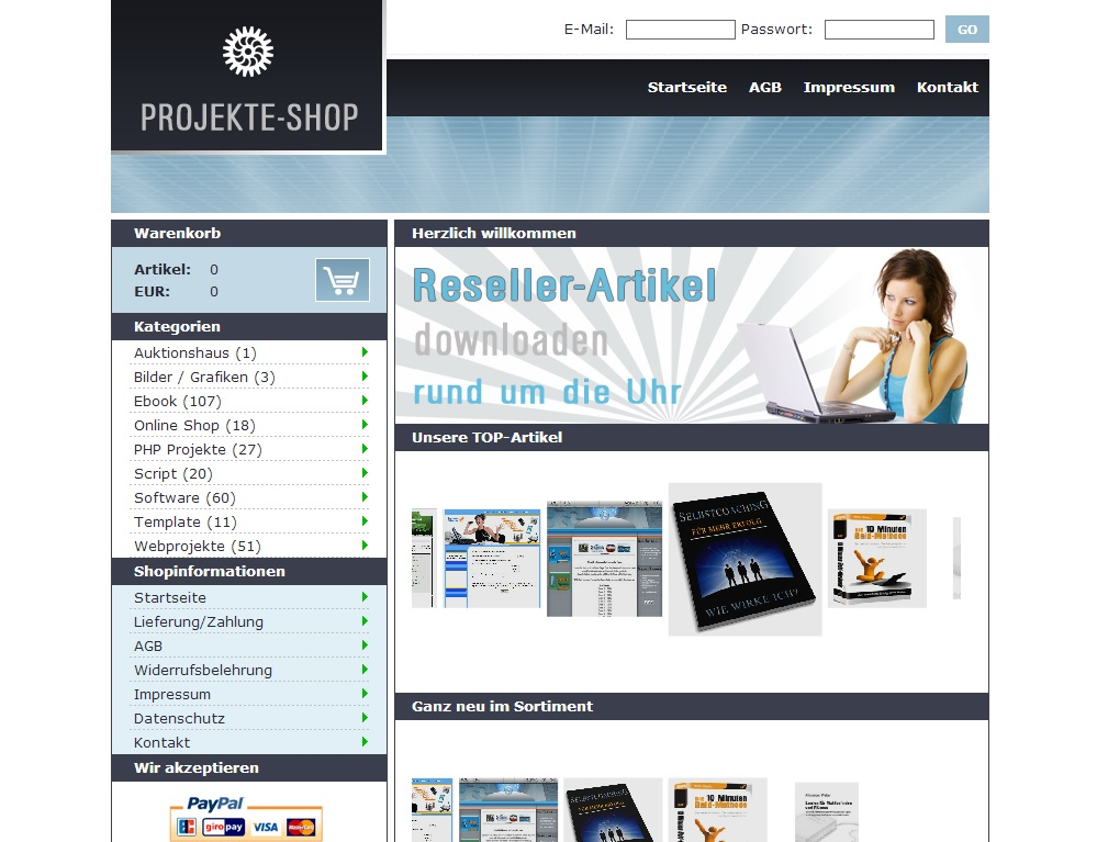 Partner Shop mit 300 Download Produkten